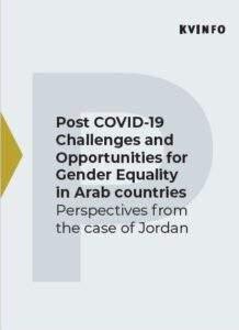Lyseblå, grafisk forside af rapport med teksten: Post COVID-19 Challelnges and Opportunities for Gender Equality in Arab Countries